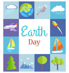 Earth day poster with in squares vector