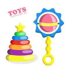 Flat baby rattle and pyramid with star toys vector
