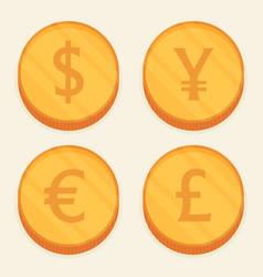 Flat coin set vector