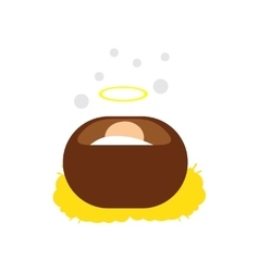 Flat icon with long shadow Jesus in manger vector