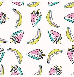 fun memphis strawberry banana pattern seamless vector image