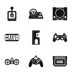 Game online icons set simple style vector