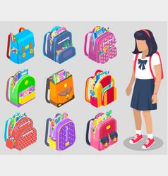 Girl pupil with backpack school sticker vector