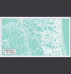 gold coast australia city map in retro style vector image