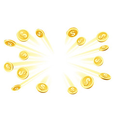 Gold coins explosion vector