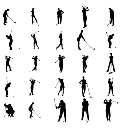 Golfer silhouette set icons simple style vector