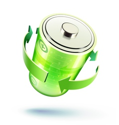Green battery icon vector