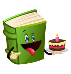 Green book is holding a cake on white background vector