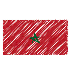 hand drawn national flag of morocco isolated on a vector image