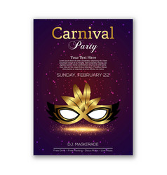 happy brazilian carnival day purple carnival mask vector image