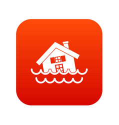 house sinking in a water icon digital red vector image