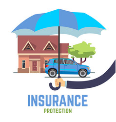 Insurance flat safe concept with hand vector