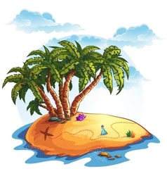 Island with palm trees and treasures vector