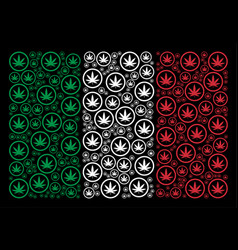italy flag collage of cannabis items vector image
