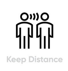 Keep distance protection measures icon editable vector
