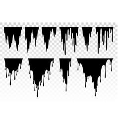 liquid paint dripping oil stain black ink streak vector image