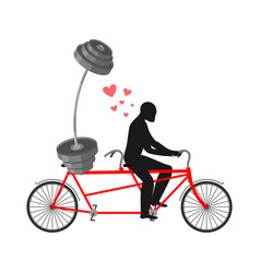 Lover fitness man and barbell on bicycle walk on vector