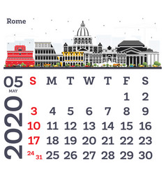 May 2020 calendar template with rome city skyline vector