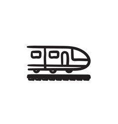 Modern high speed train sketch icon vector