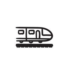 Modern high speed train sketch icon vector