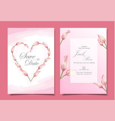 modern tulips wedding invitation cards template vector image