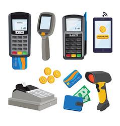 Money terminal bank cards payment vector