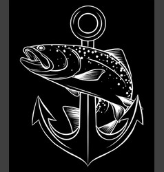 Monochromatic fish anchor aquarium fish in vector