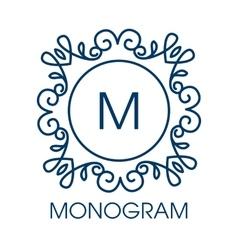 Monogram design floral outline frame vector