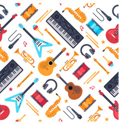 Musical instruments seamless pattern vintage vector