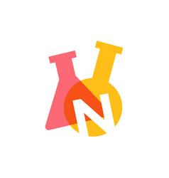 N letter lab laboratory glassware beaker logo icon vector