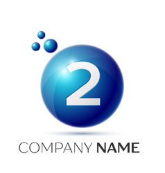 Number two splash logo blue dots and bubbles vector