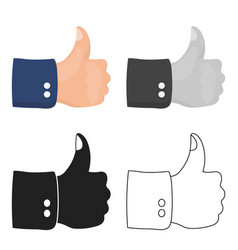 Patriotic thumb up icon in cartoon style isolated vector