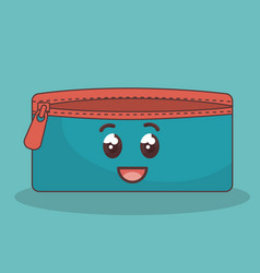 Pencil case character icon vector