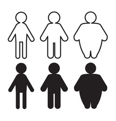 People pictograms with thin to fat transformation vector