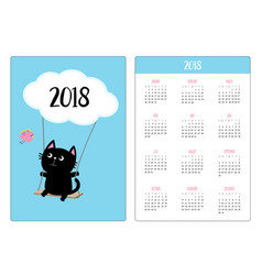pocket calendar 2018 year week starts sunday cat vector image
