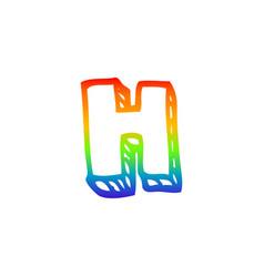 Rainbow gradient line drawing cartoon letter h vector