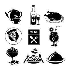 Restaurant food icons black and white vector