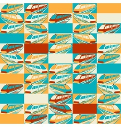 Retro seamless travel pattern of trains vector image