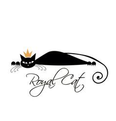royal black cat design vector image