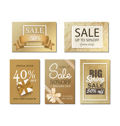 Sale banner with golden background vector