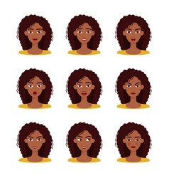 set emotions beautiful dark skinned girl vector image