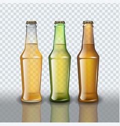 set full beer bottles on transparent background vector image