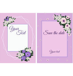 Set invitation cards with flowers vector