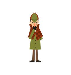 Sherlock holmes detective character thinking vector