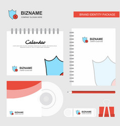 shield logo calendar template cd cover diary and vector image