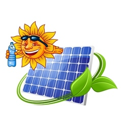 Solar panel with sun in cartoon style vector image