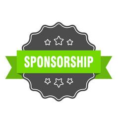 Sponsorship isolated seal sponsorship green label vector
