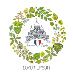 Spring in ParisLeaves wreath Sacre Coeur vector