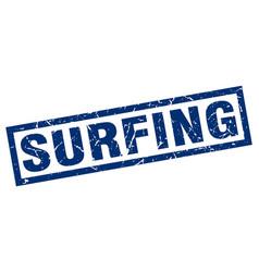 square grunge blue surfing stamp vector image