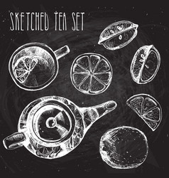 Tea hand draw set - teapot cup and spoon with vector